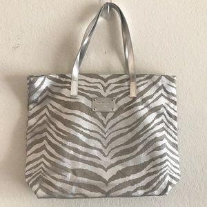 Michael Kors Silver Metallic Zebra Print Tote Bag